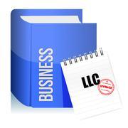Approved stamp on a llc corporation legal document illustration design over w Stock Illustration