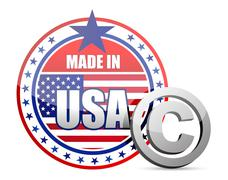 Made in usa flag seal with copyright sign illustration in front Stock Illustration