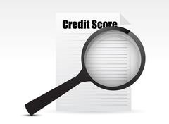 Stock Illustration of credit score and magnifying glass design over a white background