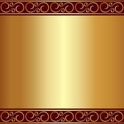 Abstract gold plate background with vignettes Stock Illustration