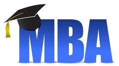 mba graduation tassel hat over white background illustration - stock illustration