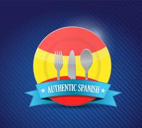 Stock Illustration of traditional spanish restaurant , menu illustration design over blue
