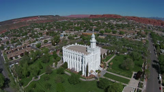 Aerial St George Utah white LDS Mormon Temple HD 0051 Stock Footage