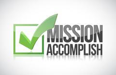 Stock Illustration of mission accomplish sign illustration design over a white background
