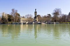 Monument to Alfonso XII in Parque del Retiro, in Madrid - stock photo