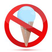 red glass forbidden sign with ice cream. illustration design - stock illustration