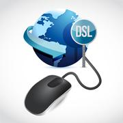 mouse connected to a grey globe with a dsl sign. illustration design - stock illustration