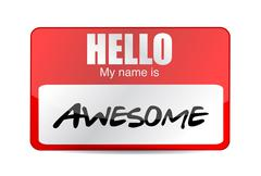 Stock Illustration of hello i am awesome tag. illustration design over a white background