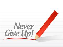 never give up written on a white paper. illustration design notepad paper - stock illustration