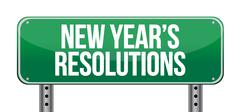 sign announcing 'new year's resolutions' illustration design over white - stock illustration