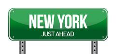 green new york, usa street sign illustration design over white - stock illustration