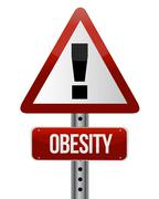 road traffic sign with an obesity concept illustration design - stock illustration