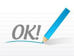 Stock Illustration of ok written on a white paper. illustration design notepad paper