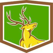 stag deer looking up shield cartoon - stock illustration