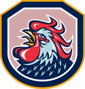 rooster cockerel crowing shield retro - stock illustration
