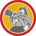 Stock Illustration of fireman firefighter aiming fire hose circle