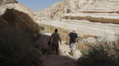 Travelers hike in Ein Uvdat (Ein Avdat) Stock Footage