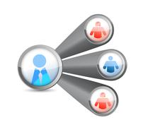 people network. social media diagram illustration design over white - stock illustration