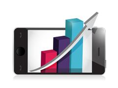 Manage your business on your phone. illustration design over white Stock Illustration