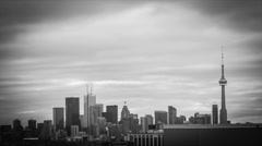 4k Black & White Timelapse of Toronto Skyline Stock Footage