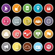 communication icons with long shadow - stock illustration