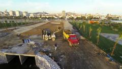 Recreational park construction work. View from aerial camera Stock Footage