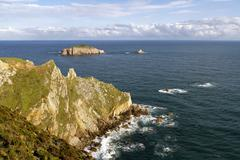 Rocks at the coast of north of  Asturias, Spain. - stock photo