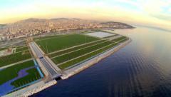 Aerial view of Maltepe recreational park from waterside Stock Footage
