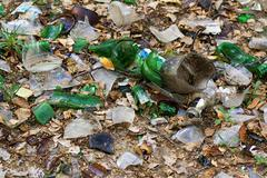 Protect the environment. debris from the broken glass on the ground Stock Photos