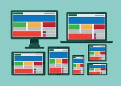 responsive web design illustration - stock illustration