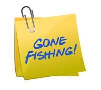 Stock Illustration of gone fishing concept on a post-it illustration design