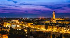 Night view over arno river in florence, italy Stock Photos