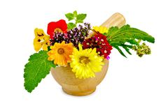 Herbs and flowers in a mortar Stock Photos