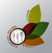 Stock Illustration of restaurant menu food and drinks illustration design on white background