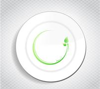 Stock Illustration of healthy food leave design over a dish and a pattern background