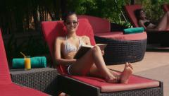 5of27 Young people relaxing in hotel swimming pool, gym, bar Stock Footage