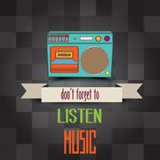 "poster with retro boom-box and message""don't forget to listen music"" - stock illustration"