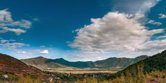 Panorama of valley in Tropoja in Northern Albania Stock Photos