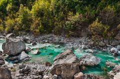 Valbona river in Northern Albania tourist attraction - stock photo