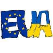 Europa and Ukraine Flag Text - stock illustration