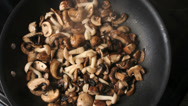 Stock Video Footage of Mushrooms Cooked Sauteed In Pan