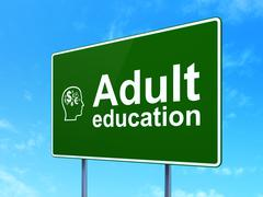 Education concept: Adult Education and Head With Finance Symbol on road sign - stock illustration