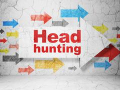 Finance concept: arrow with Head Hunting on grunge wall background Stock Illustration