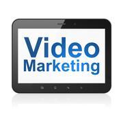 Liikeidea: Video Markkinointi tablet pc tietokone Piirros