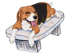 beagle on chair - stock illustration