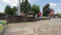 Fountain in amusement park Stock Footage
