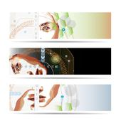 High-tech style illustrated banner - stock photo