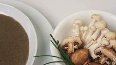 Chef Garnishes Mushroom Soup Stock Footage