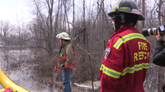 Belleville Ontario spring flood rescue Stock Footage