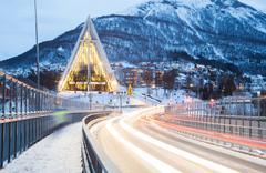 Tromso Arctic Cathedra Norway Stock Photos